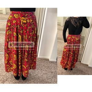 Retro Red/Yellow/Black High/Wide Waist Maxi Skirt